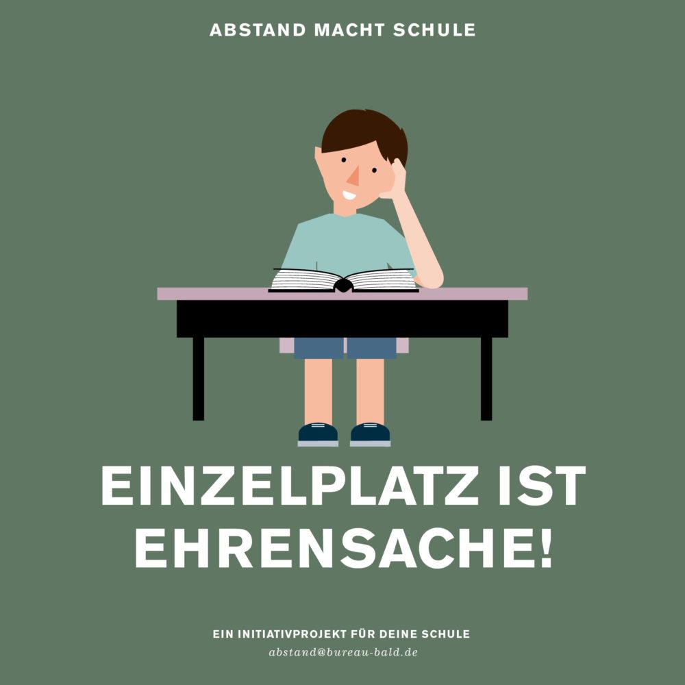 """Schul Abstandsaufkleber """"Einzelplatz ist Ehrensache"""""""